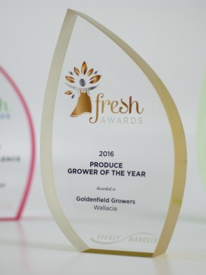 Sydney Markets Fresh Awards | Custom Acrylic Gold Trophy