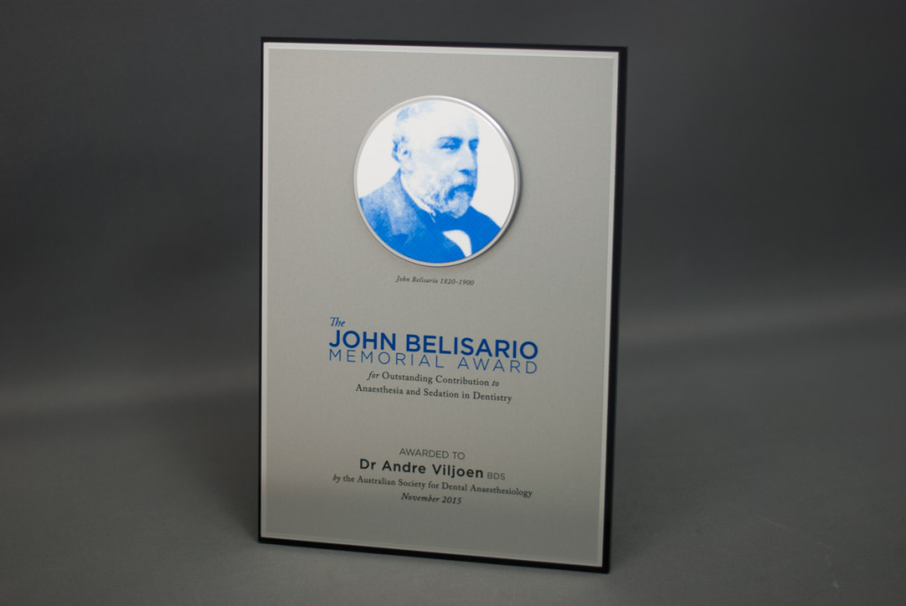 The John Belisario Memorial Award -  Custom Award Plaque