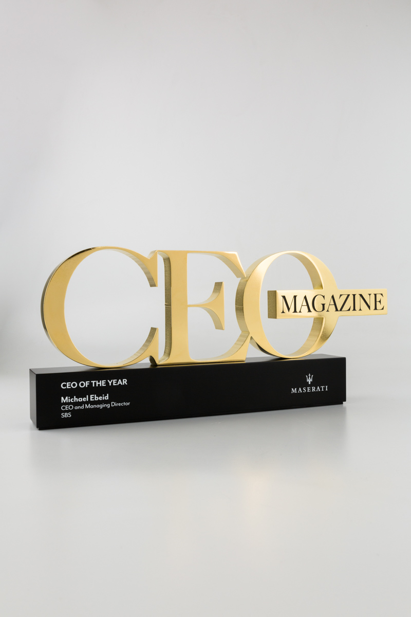 CEO Magazine Executive of the Year 22 Carat Gold Trophy