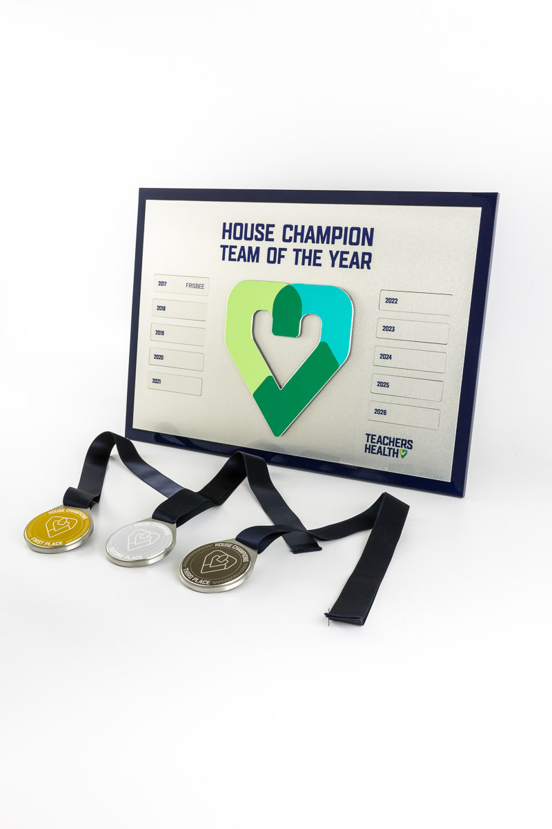 Teachers Health Australia Custom House Champion Medallions and Perpetual Plaque