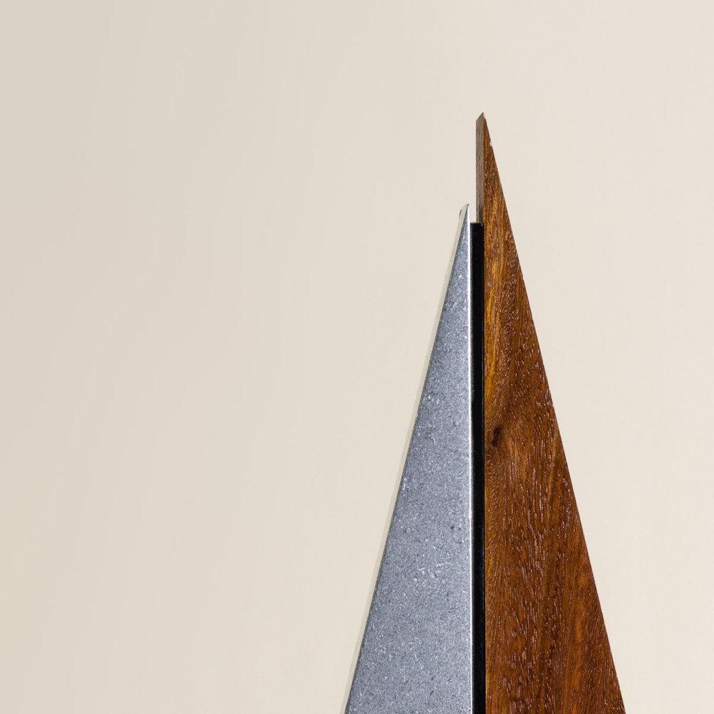 Detail of Peak with vibration stone polish finish and Australian Red Iron Bark timber.