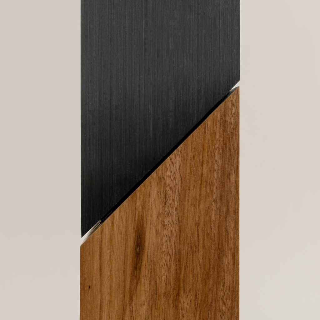Tower spacer detail with brushed charcoal anodised finish and Australian Blackbutt timber