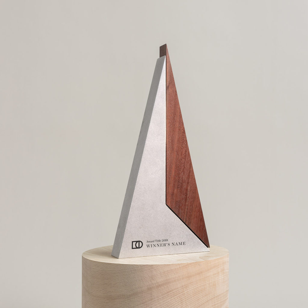 Peak with vibration stone polish finish and Red Iron Bark timber with sample placeholder text (customisable).