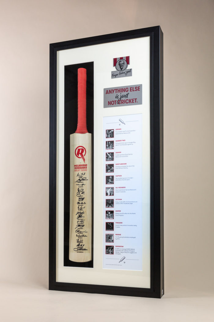 KFC Cricket Bat Memorial Frame