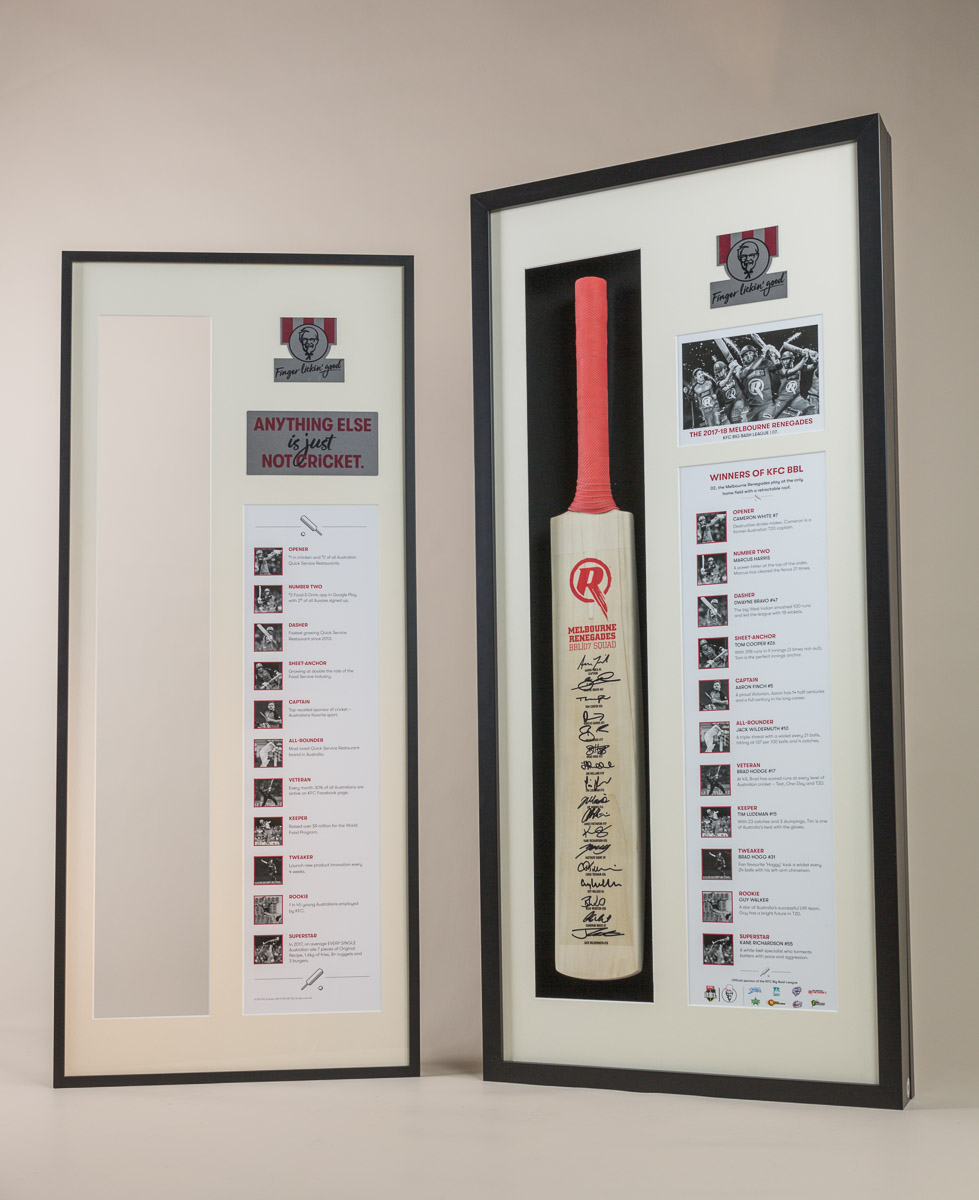 KFC Cricket Bat Memorial Frame with removable front window