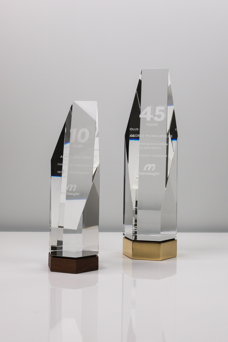 Macnaught Long Service Recognition Crystal Trophies
