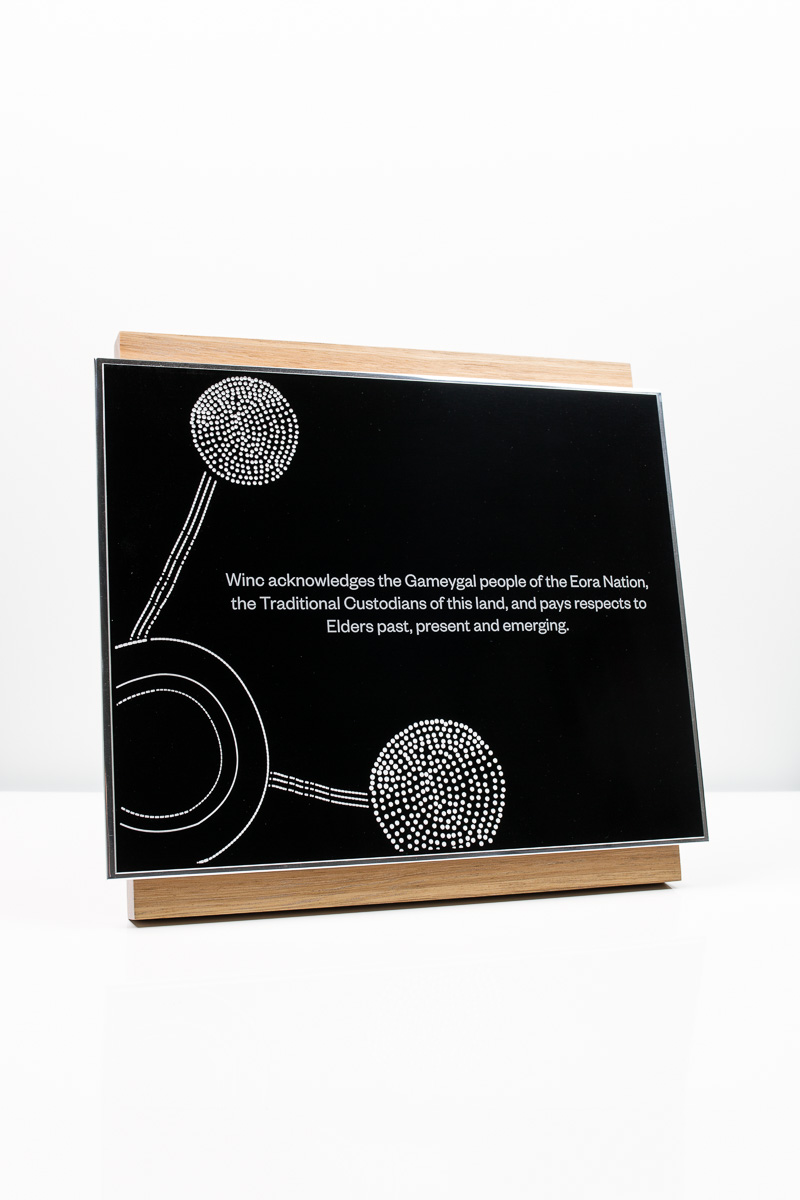Winc Acknowledgement of Country Plaque
