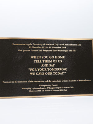 Chatswood RSL Commemorative Brass Plaque