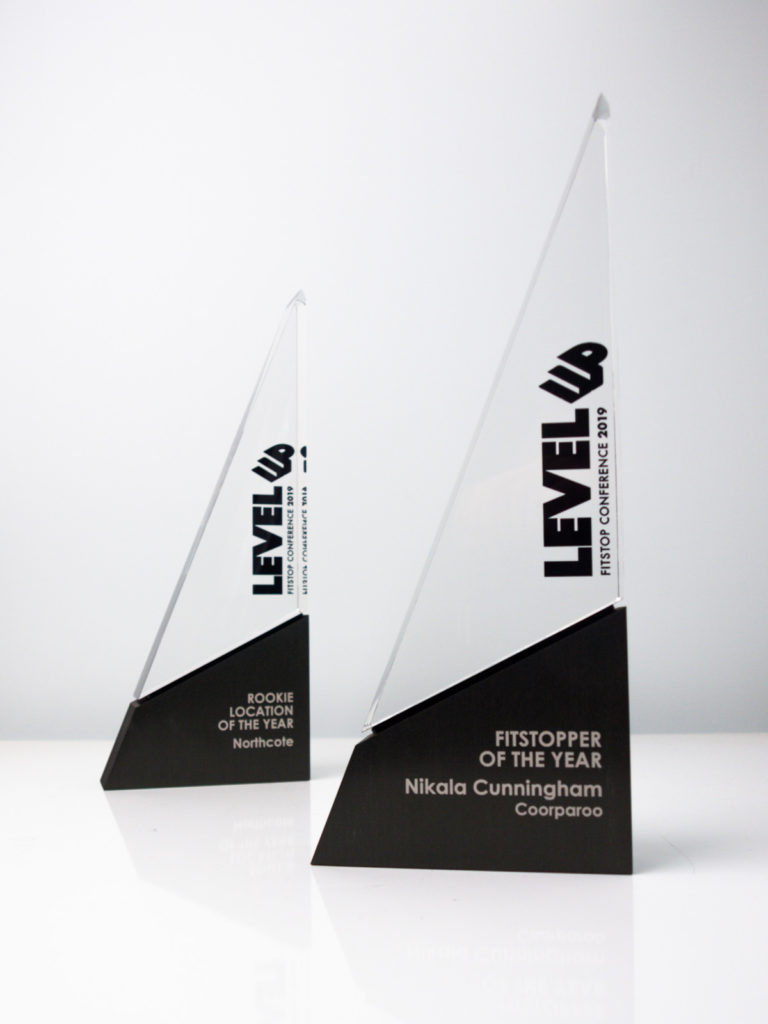 Level Up Fitstop Conference Spire Trophies