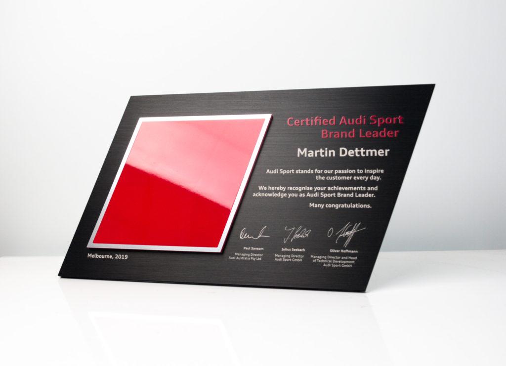 Audi Sport Brand Leader Plaque Award