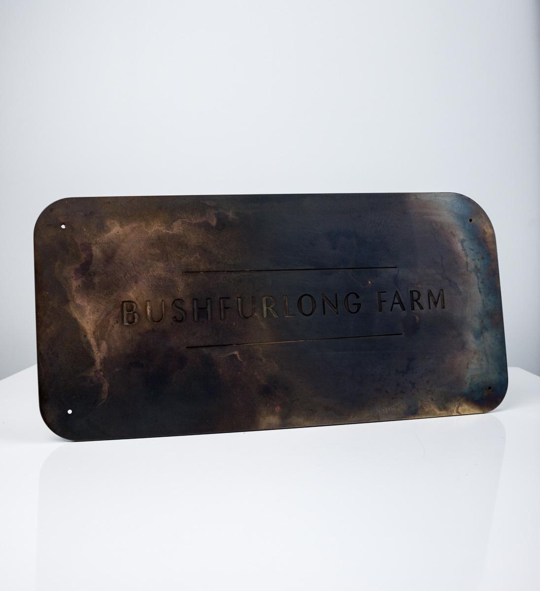 Bushfurlong Farm Patinated Brass Entry Signage
