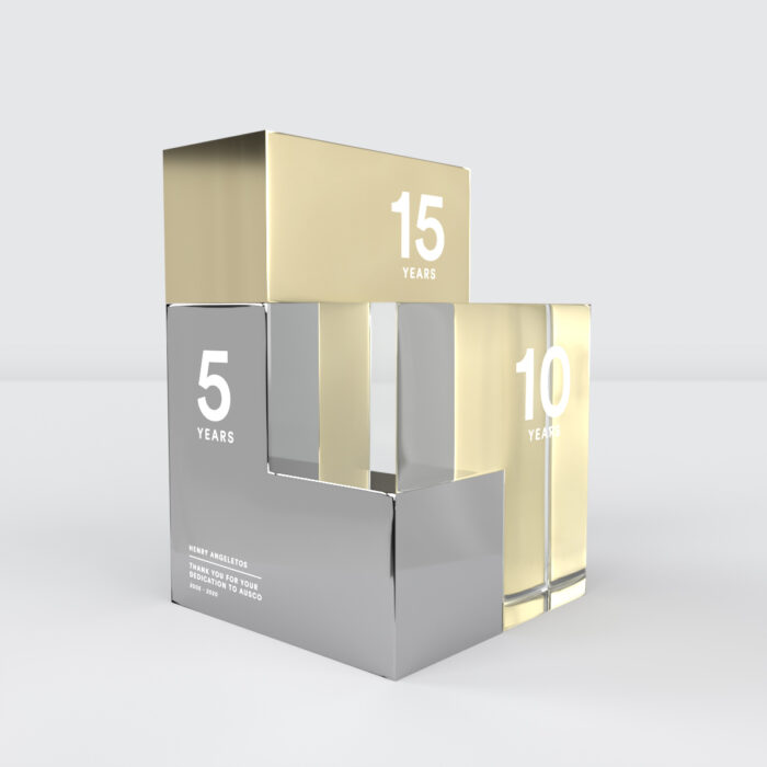 The Jumble long service recognition stackable award trophy