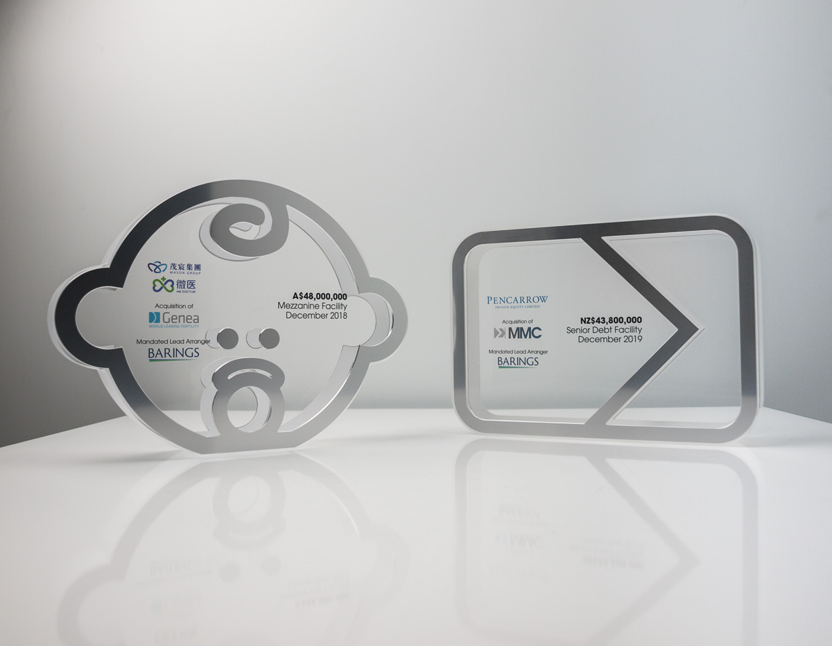 Barings Deal Toy Tombstone Acrylic Awards