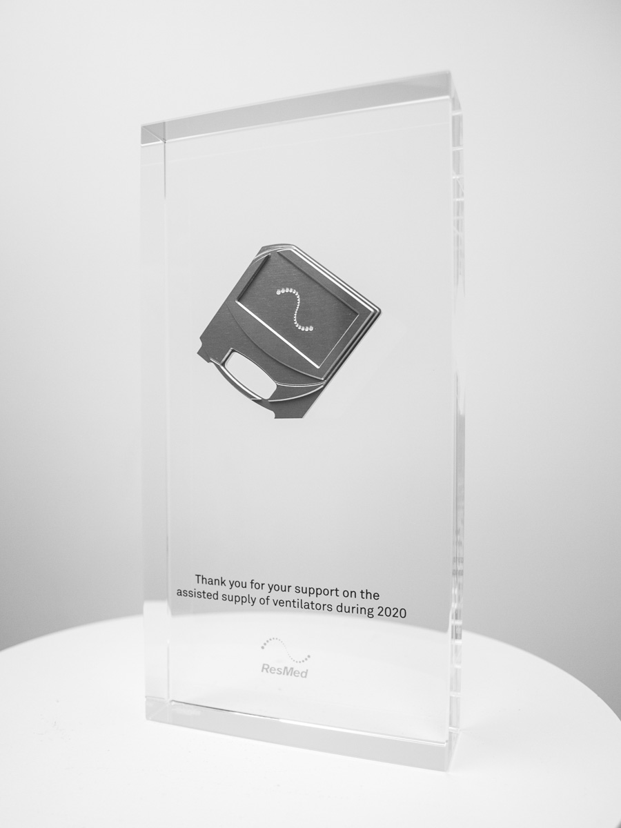 The ResMed Custom Crystal Award Trophies