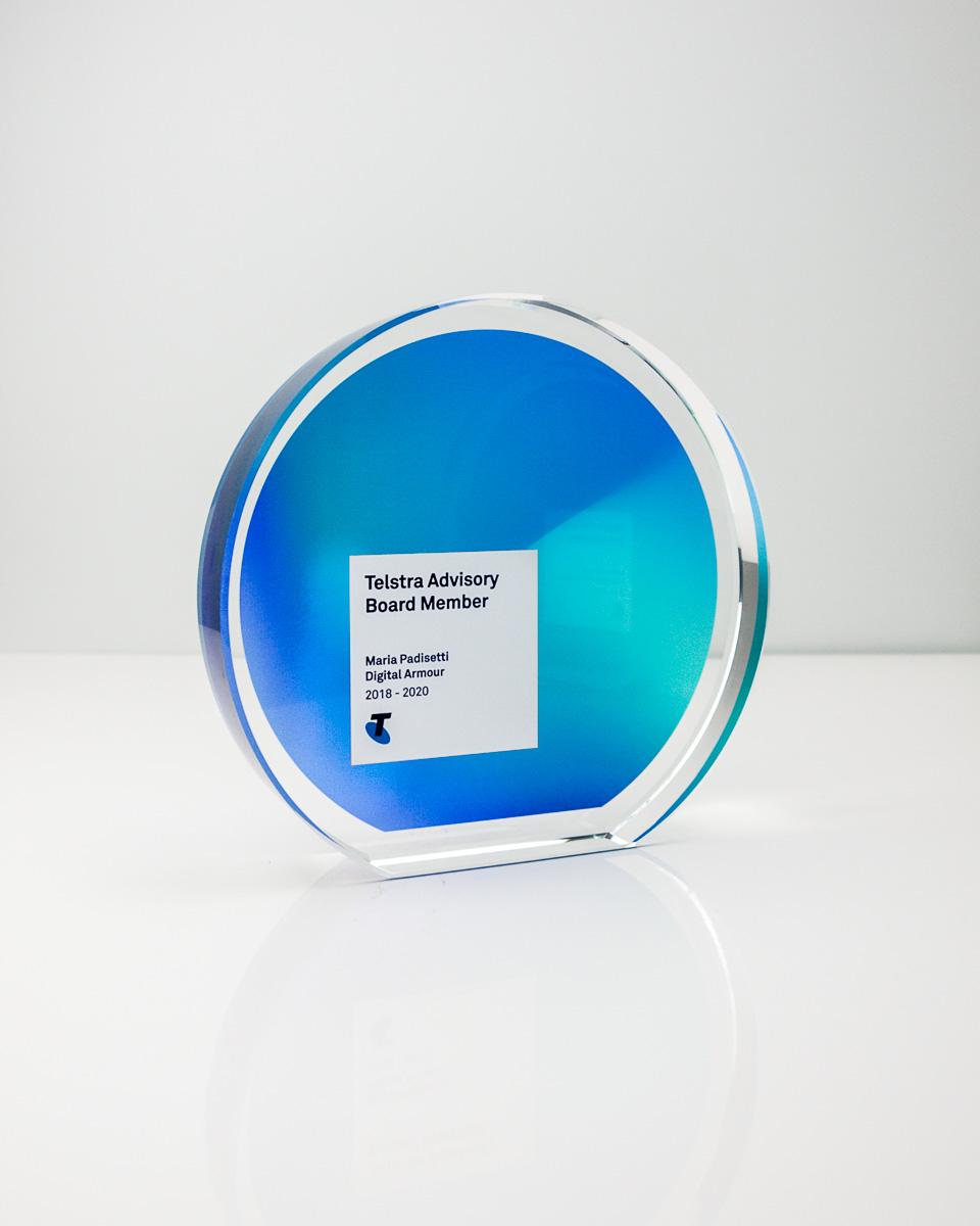 Telstra Recognition Trophy - Custom Crystal Awards