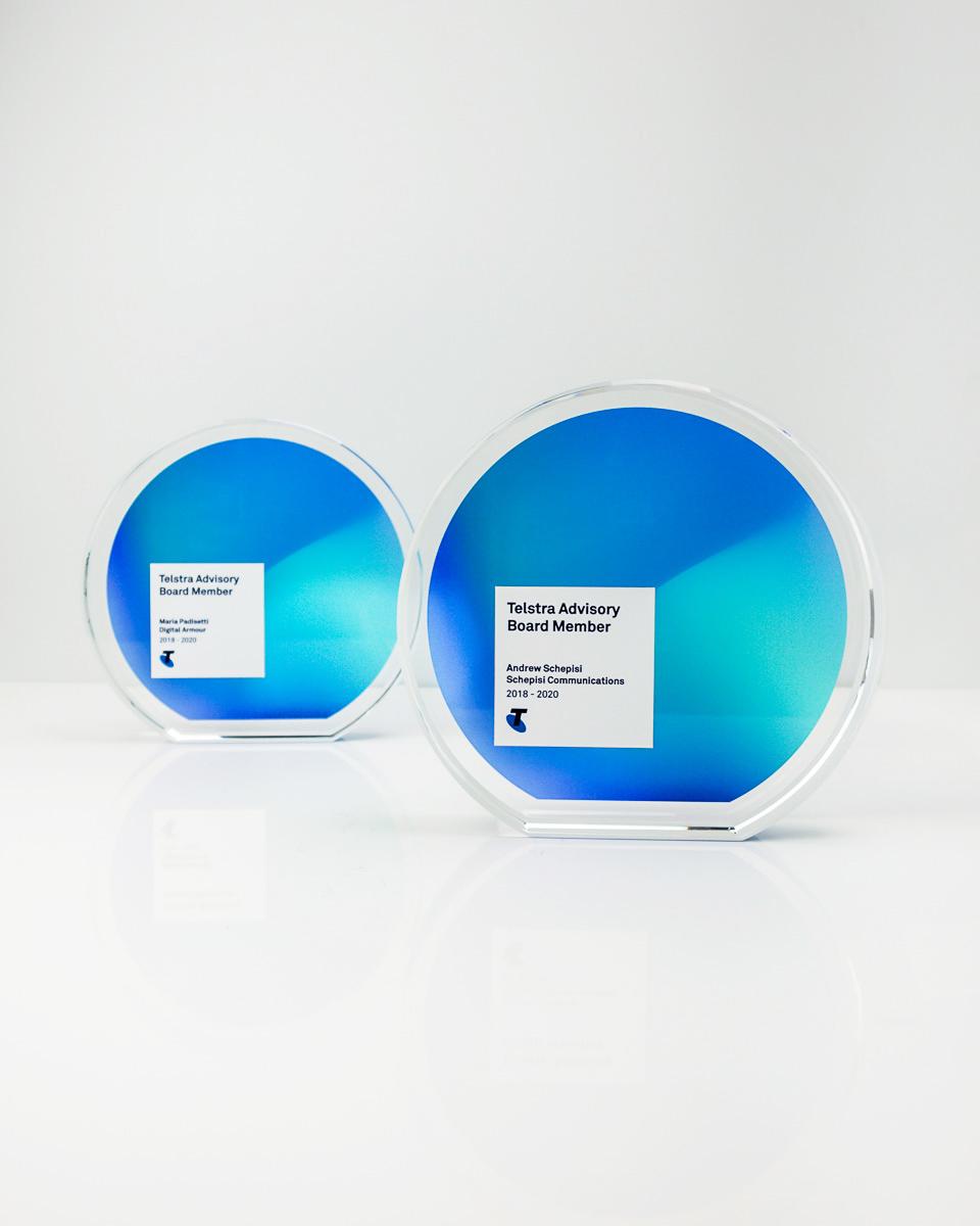 Telstra Recognition Trophy - Custom Crystal Awards Australia