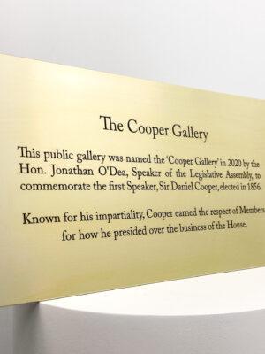 Cooper Gallery Legislative Assembly Indoor Brass Plaque