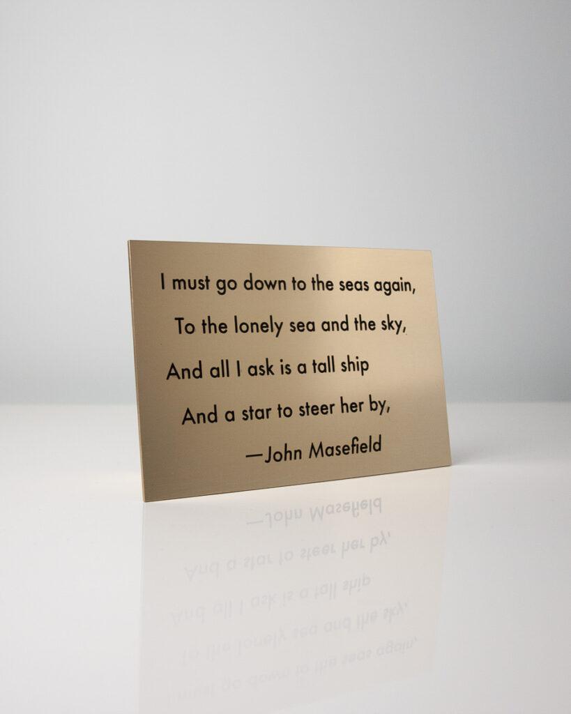 Commemorative Masefield Poem Brass Plaque